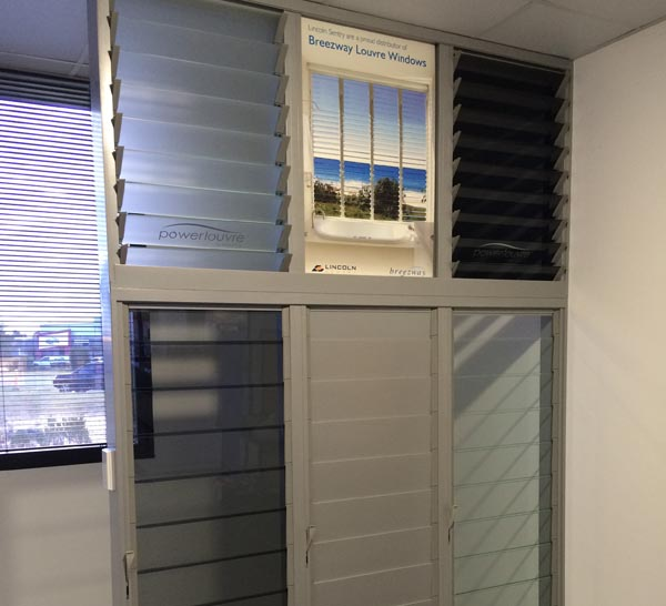 Breezway Louvre Window display at Master Builders Association Geraldton