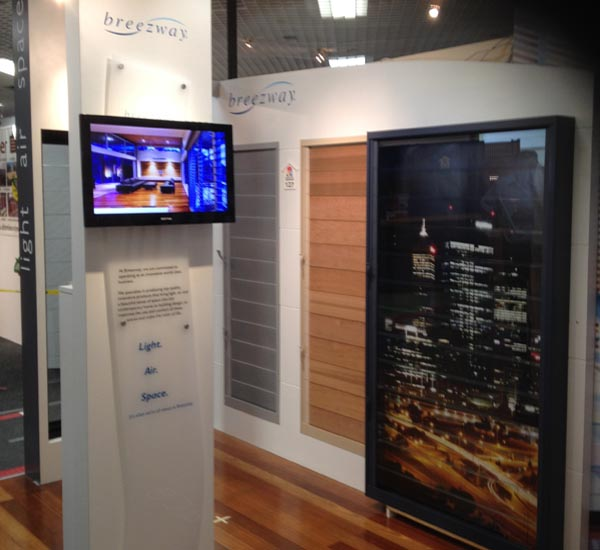 Breezway Louvre Window display at the Perth Home Base Expo