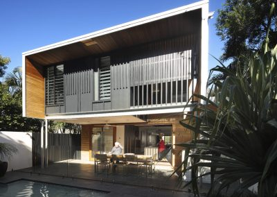 Back of house with louvres and pool
