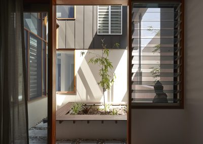 Look through to courtyard through louvres