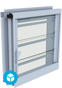 Breezway Louvre Easyscreen Window 3D interactive model with security bar