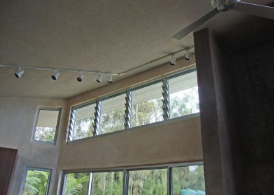 High level Breezway Louvre Windows with manual operations and Powerlouvre were used