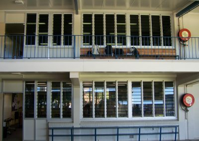 Outside view of classroom with louvre windows