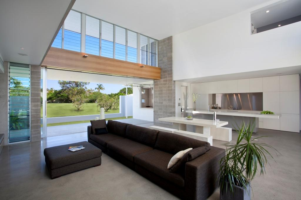 New Home Design With Open Plan Living Space And Louvre Windows