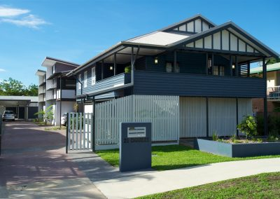 Traditional Queenslander is retained in front of units that use Breezway Louvre Windows