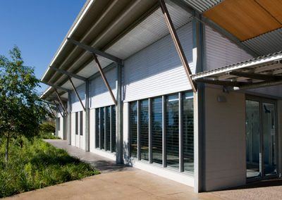 The louvre windows from Breezway provide natural air flow into the building