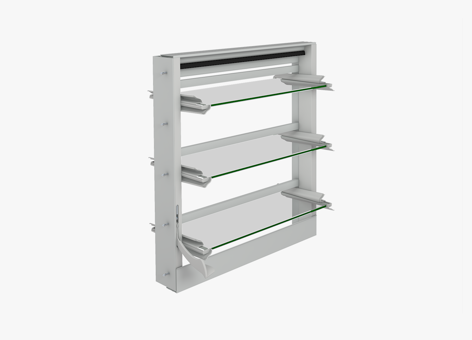 Assembled view of Altair Louvre Component System with D bar Security Jamb