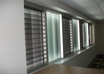 Glass louvre window in anodised frames