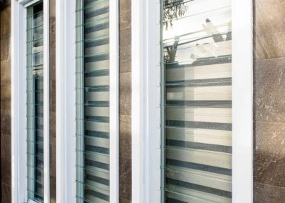 Three Altair Louvre Windows with glass blades in closed position