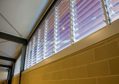 Powerlouvre windows were installed in commercial aluminium frames