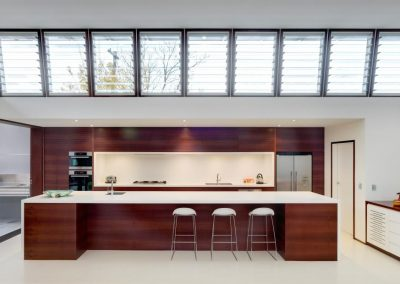 Powerlouvre from Breezway is used to automate the high level kitchen windows.
