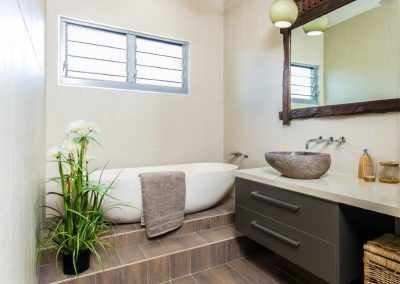 Breezway Louvre windows in this bathroom provide light, privacy and are still easy to operate