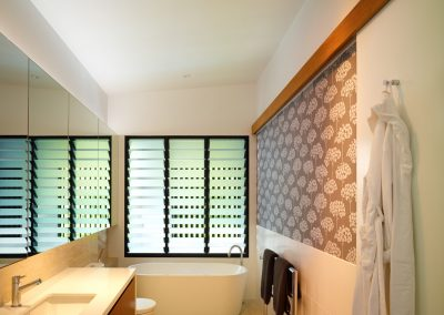 Bathroom three bay louvre window with obscure glass for privacy and maximum ventilation
