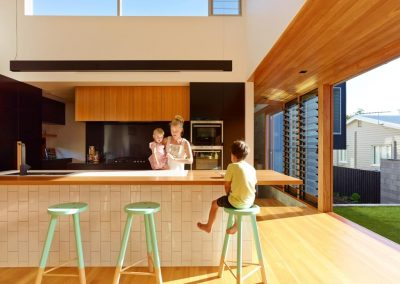 Modern kitchen with Breezway Altair Louvres high above and at ground level