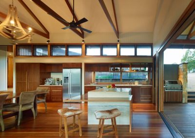 A series of Breezway Louvre Windows above the kitchen release hot air and cooking odours