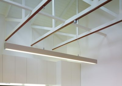 Breezway Louvre Windows in kitchen with open truss roof