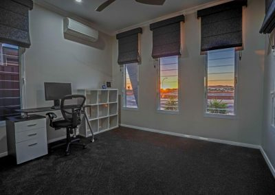 Timberline study room with breezway louvres and view of sunset