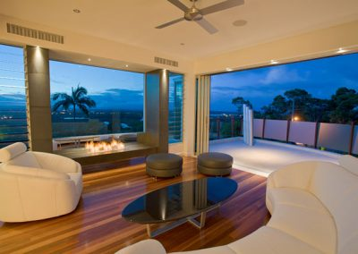 Entertaining area with louvres framing a view