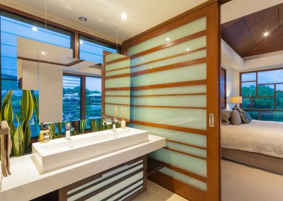 Louvres in the bathroom with timber framing
