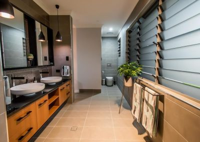 Breezway louvres behind towel racks help speed up the drying process
