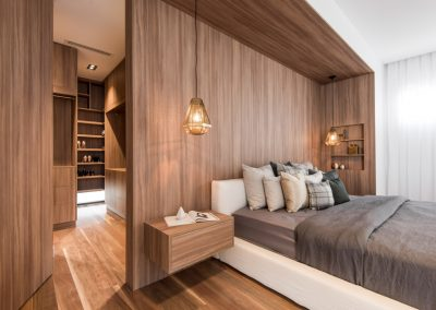 Bedroom with timber interior