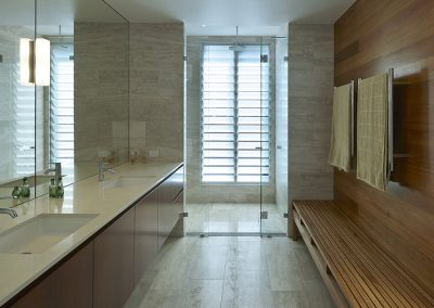Privacy can be maintained in a bathroom when using Breezway Louvres with satina or satinlite glass blades