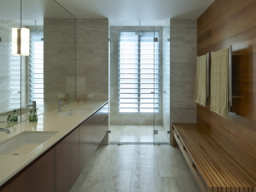 privacy can be maintained in a bathroom when using breezway louvres with satina or satinlite glass