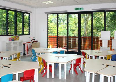 Breezway Louvre Windows in Childcare Centre Buildings allow children to connect with nature from inside