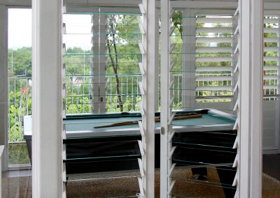 Breezway Louvre Windows with clear glass allow views to be maintained while doors are closed