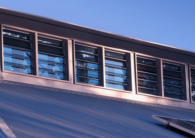 High level Breezway louvres can be installed with security screens or security bars to comply with insurance policies