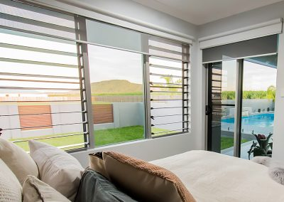Blinds over Breezway Louvres can provide privacy when required