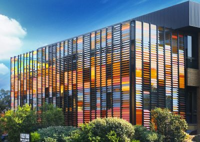 Colourful facades can be incorporated into office buildings with Breezway Louvres