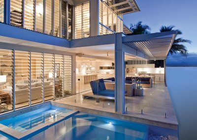 Breezway Louvres open wide and provide unobstructed views of pools or beaches