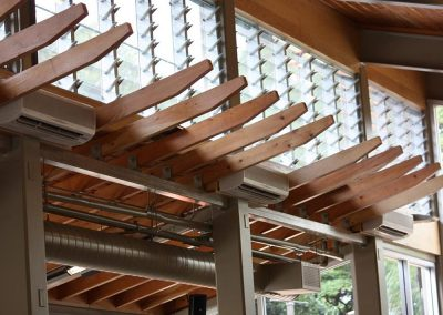 Breezway Powerlouvres up high can be operated automatically to ventilate restaurants