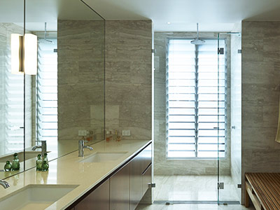 Tall, narrow Breezway Louvres are ideal for ventilating shower areas