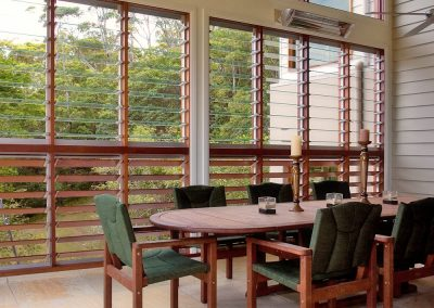 Using Breezway Louvres to enclose outdoor rooms can still allow plenty of light and ventilation