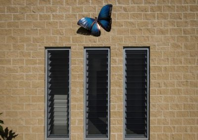 Breezway louvres incorporated into the 'butterfly' shaped Leschenault House