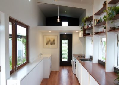 Internal central view of Tiny House with Breezway Louvres