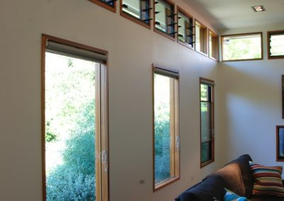 Breezway louvres wide open and up high allow air to filter through the house