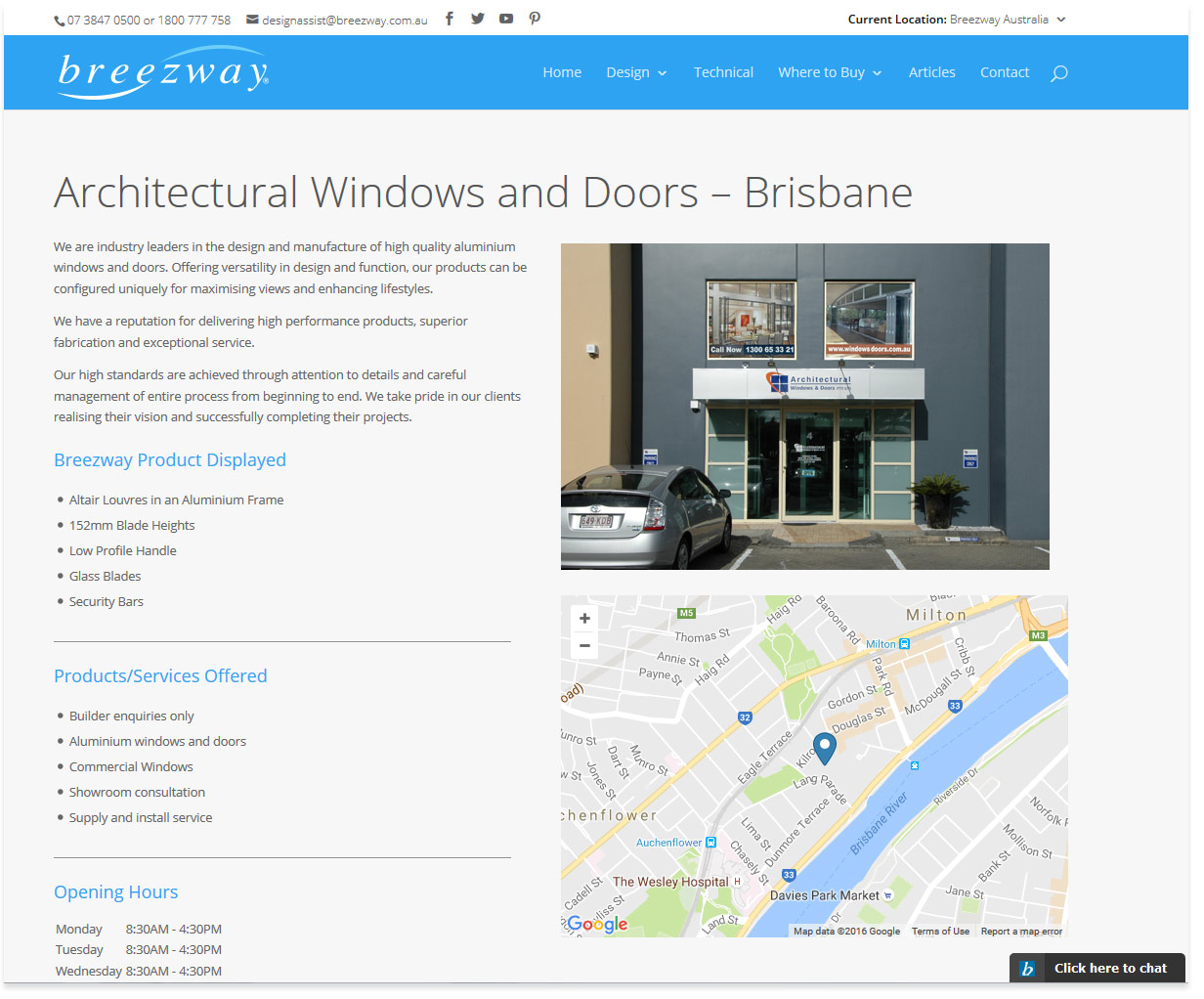 Breezway Louvre Windows Example Store Page