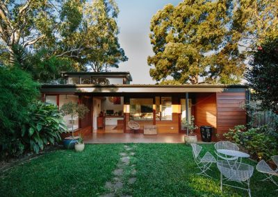 Outdoor view of courtyard house by davis architects