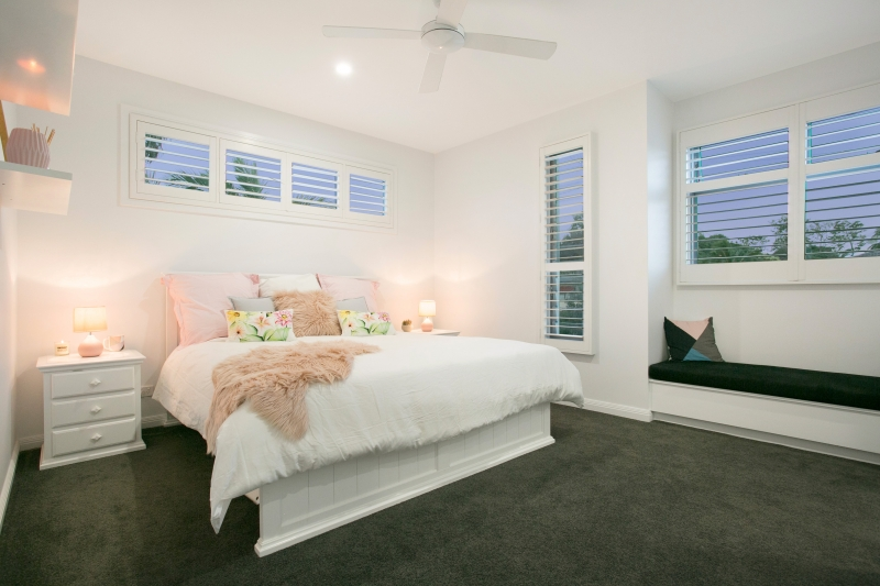 Breezway louvres allow ventilation into bedrooms