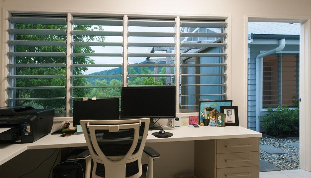Breezway Louvres provide outdoor views in the home office