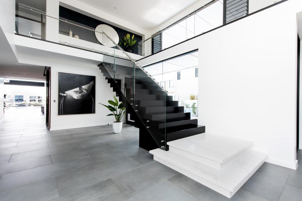 Black and white interior with Breezway louvre windows