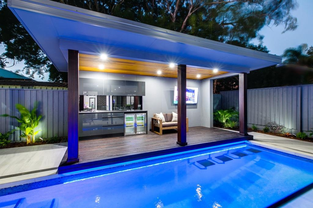 Stunning outdoor pool area of the award winning Galleon home