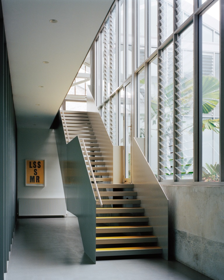 Elegant stairway inside the Redfern Warehouse using Breezway Louvres