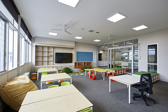 Classroom uses Breezway Louvres for ventilation - image supplied by School Infrastructure NSW