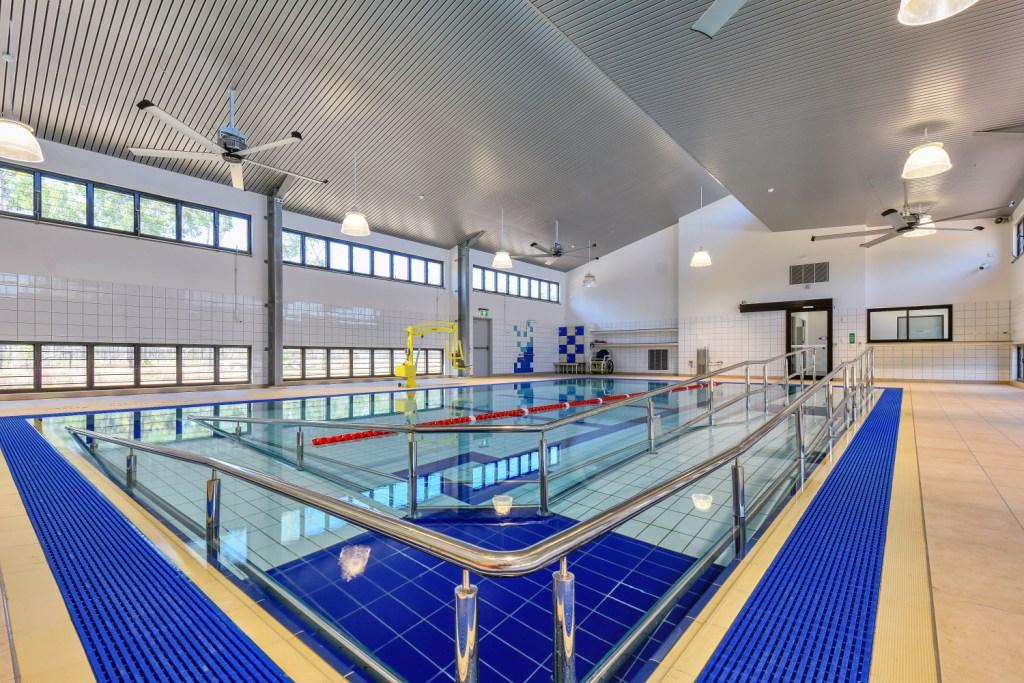 The Palmerston Hydrotherapy Pool facility is naturally ventilated with Breezway Louvre Windows