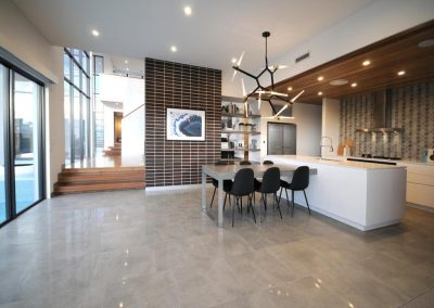Kitchen area for entertaining with views out onto the backyard