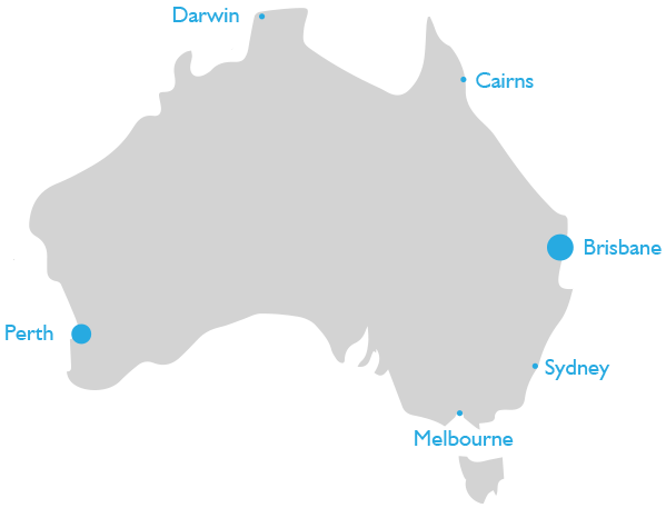 Australia map showing location of Breezway Offices